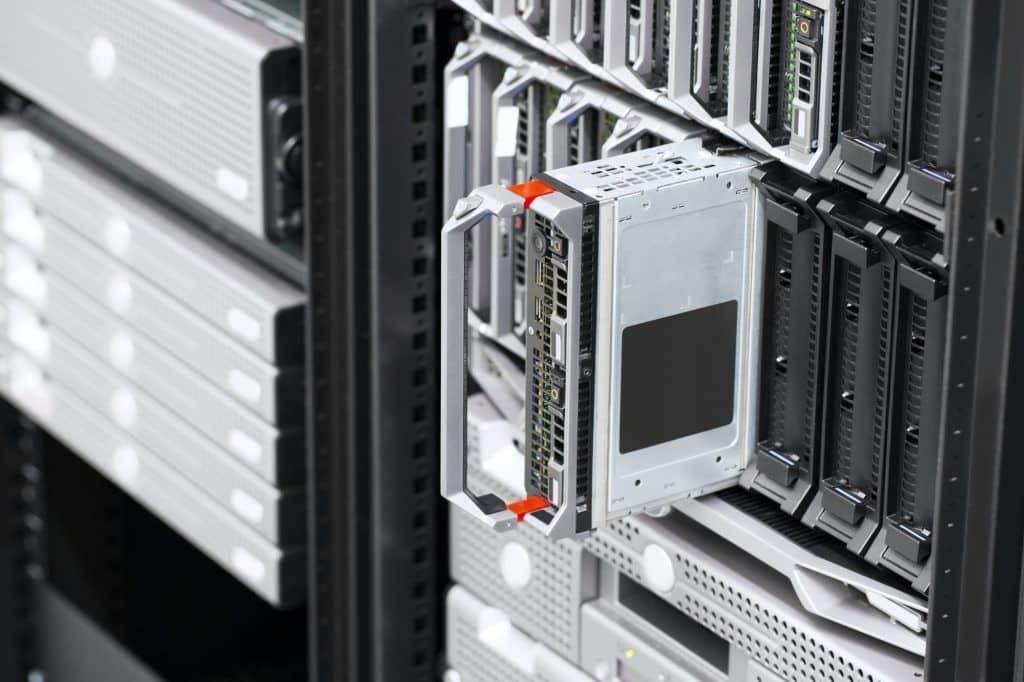 Blade server rack in large datacenter