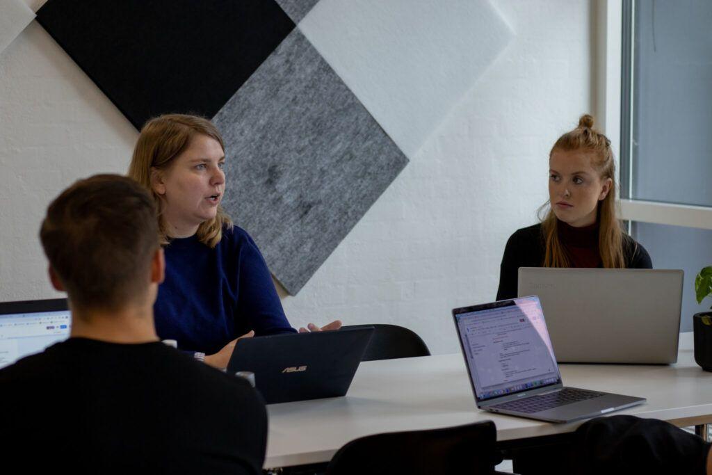 Medarbejdere diskutere hjemmeside pris