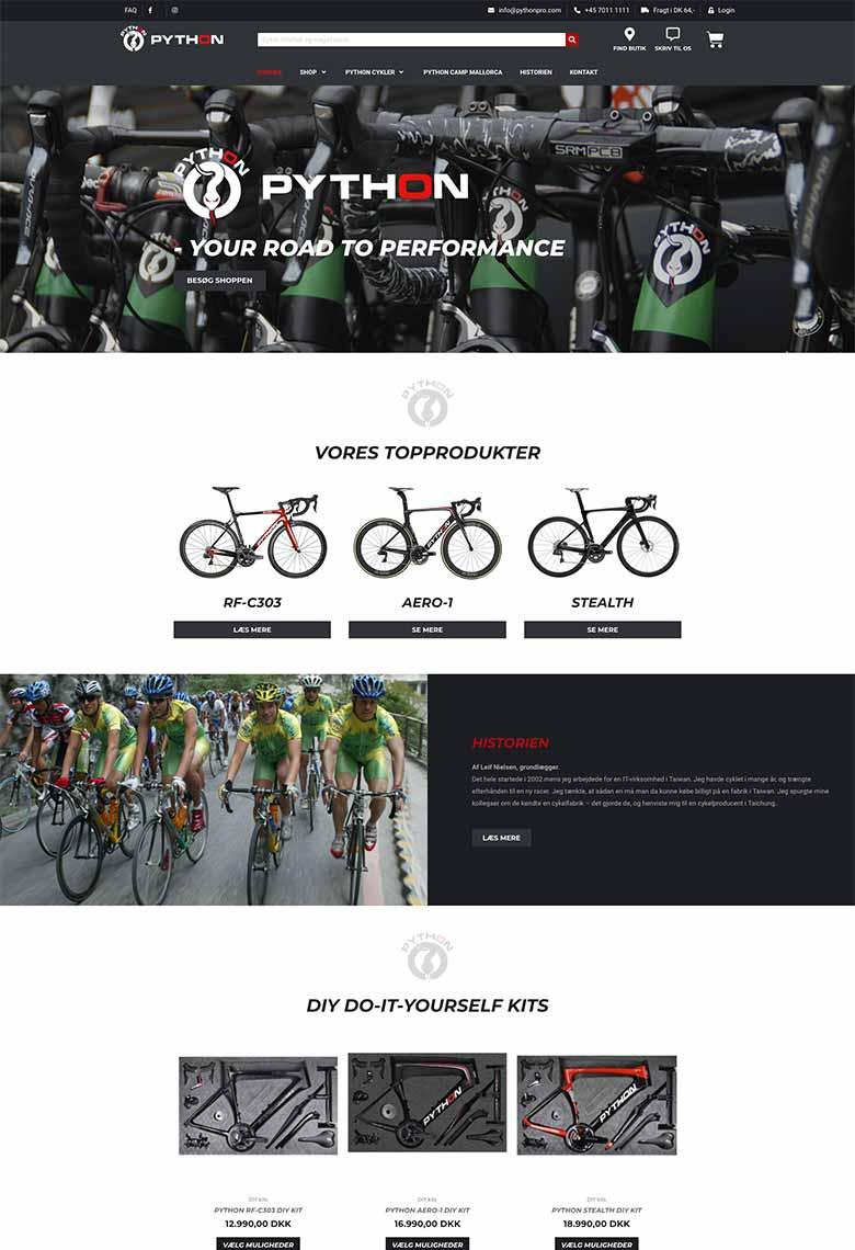 Python hjemmeside hvor man ser forsiden