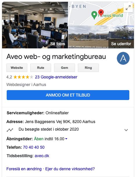 Google My Business info box