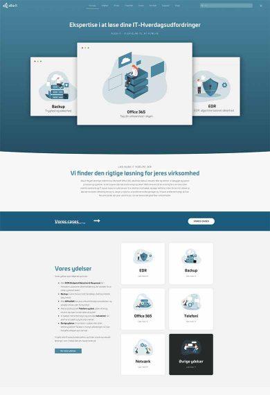 Forsiden af hjemmesiden Alba IT